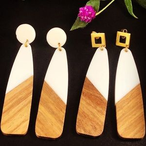 Handcrafted resin and wood earrings